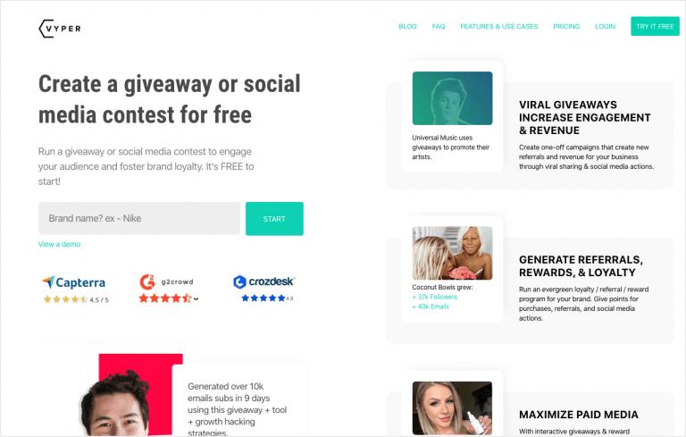 VYPER - social media giveaway app