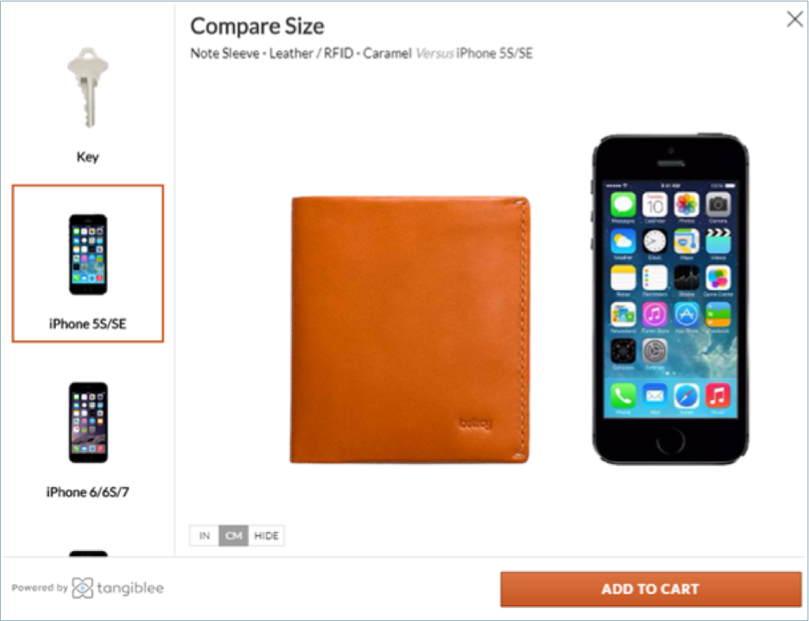 Compare the size product page example
