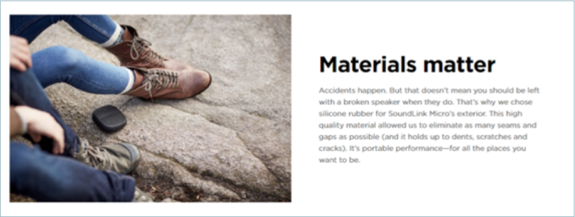 Materials matter product page example