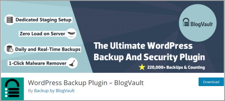 Plugin de sauvegarde BlogVault WordPress