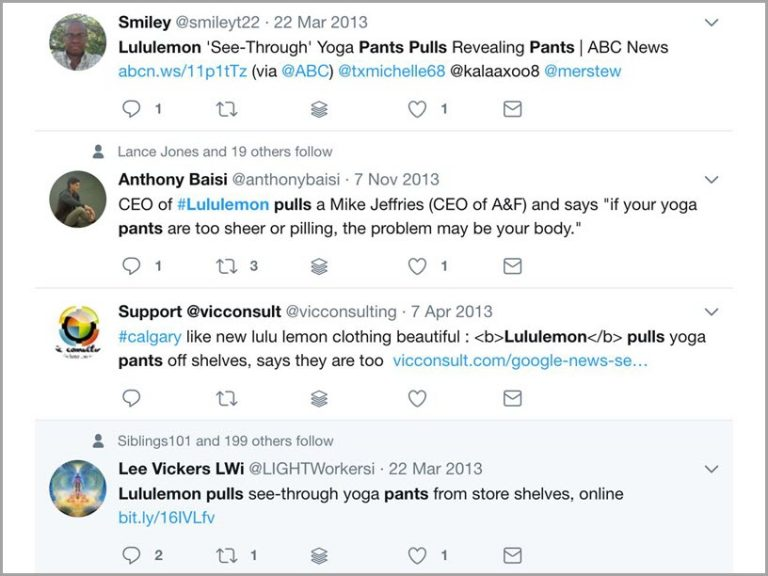 Lululemon, for example, was forced to withdraw women's pants