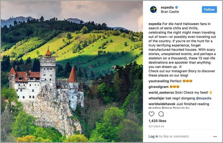 The Instagram post below links to a guide on must-see Halloween destinations.