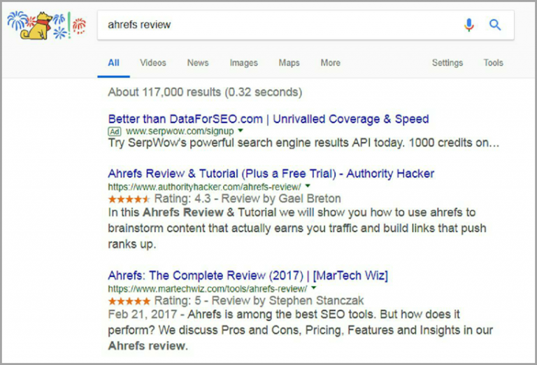 """ranks at #1 for """"Ahrefs review"""