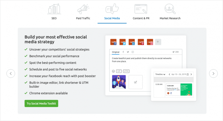 SEMrush - Social media management app