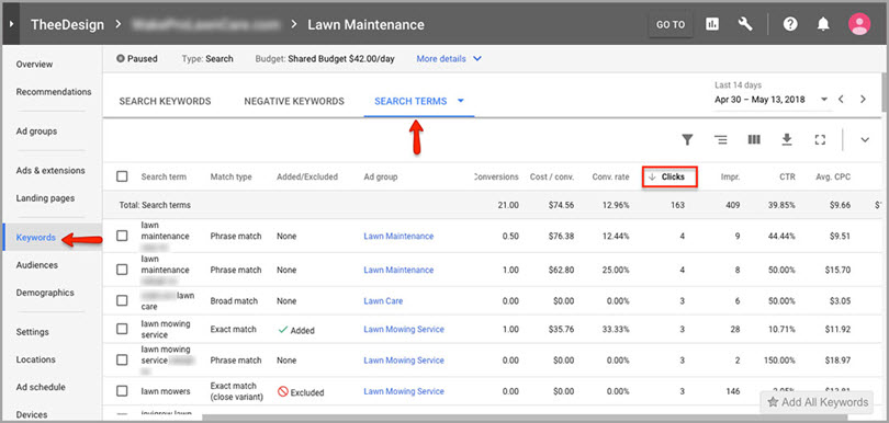 lawn maintenance for adwords features