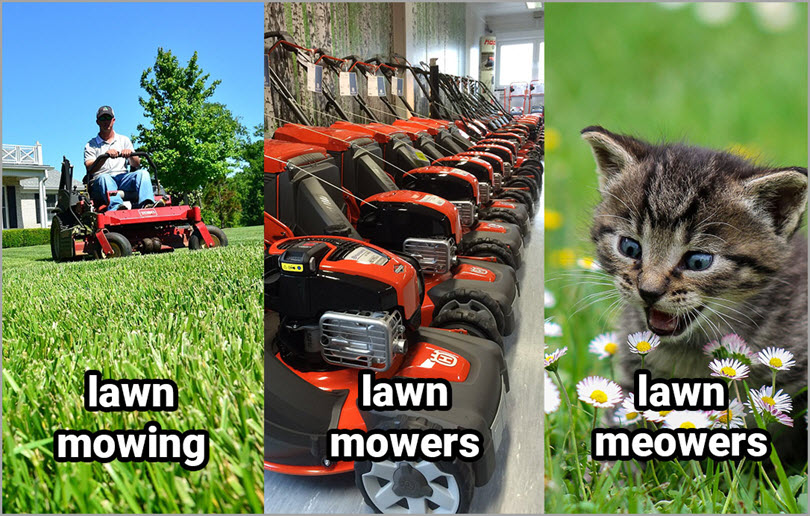 lawn mowing and lawn mower for adwords features