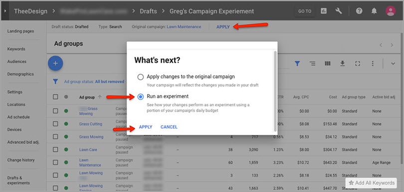 run an experiment for adwords features