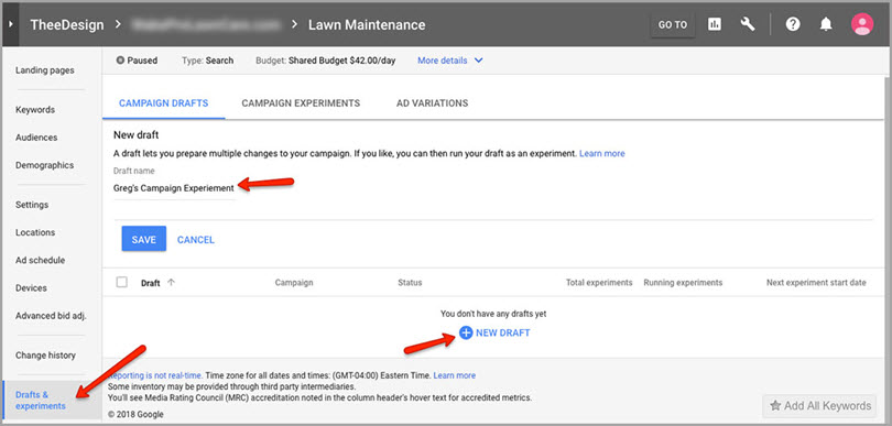 run campaign experiment for adwords features