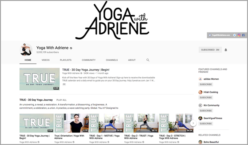 yoga andriene for youtube channel growth