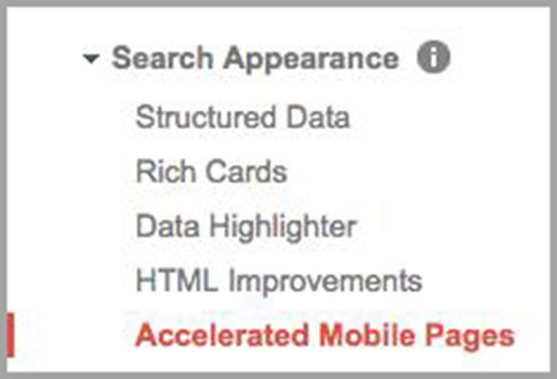 Accelerated Mobile Pages (AMP) from Search Appearance for SEO metrics
