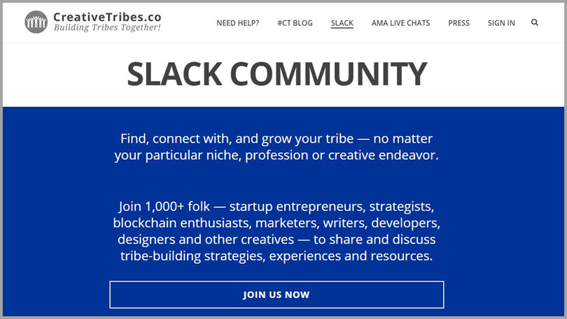 CreativeTribes for slack communities for bloggers