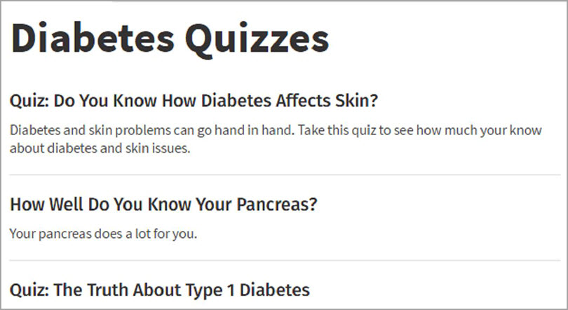 Diabetes Quizzes for marketing quizzes