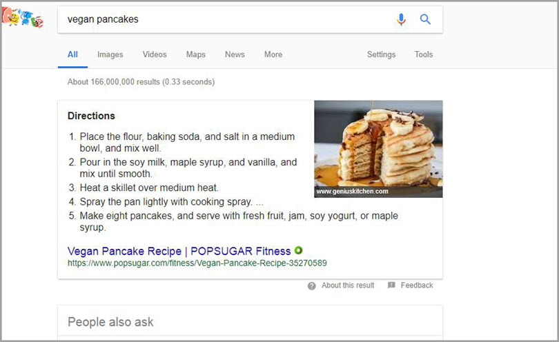 Featured Snippet for Add keywords to headings and use paragraph tags for SERP features