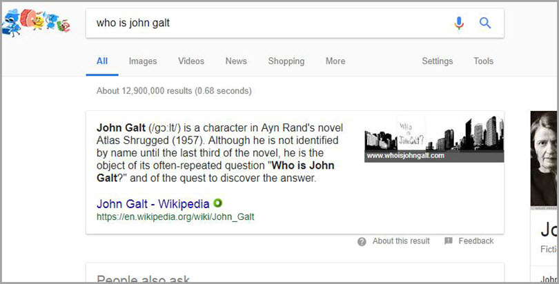 Featured Snippets for John Galt for SERP features