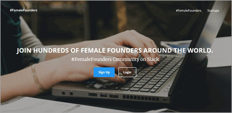 #FemaleFounders for slack communities for bloggers