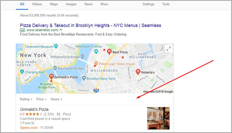 Google Local 3-Pack для доставки пиццы для функций SERP