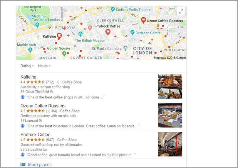 Google's Local 3-Pack for SERP features