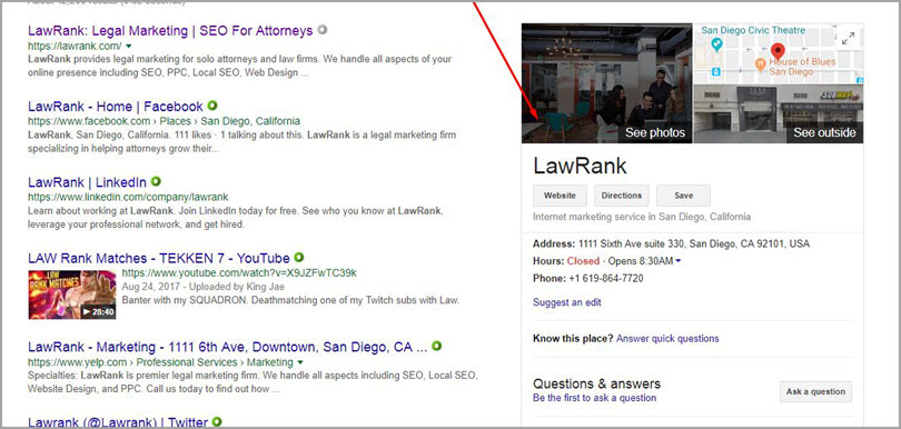 LawRank for SERP features