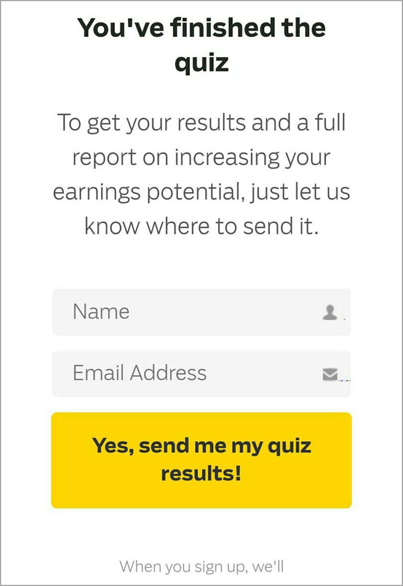 Nurture participants when quiz is finished for marketing quizzes