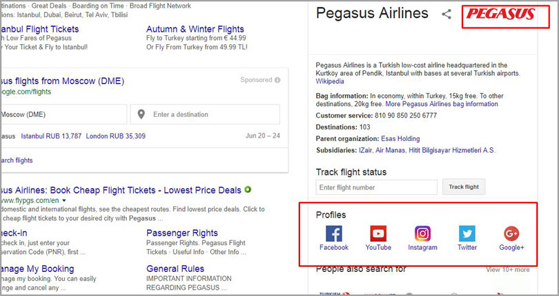Pegasus Airlines for SERP features