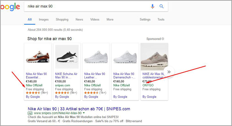 Shopping results for SERP features