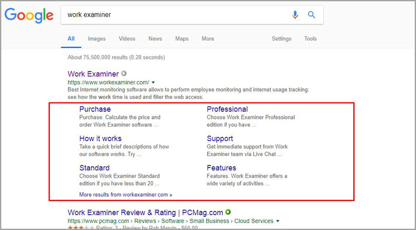 Sitelinks for Work examiner for SERP features