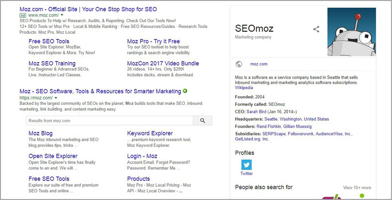 Use branded keywords like SEOmoz for SERP features