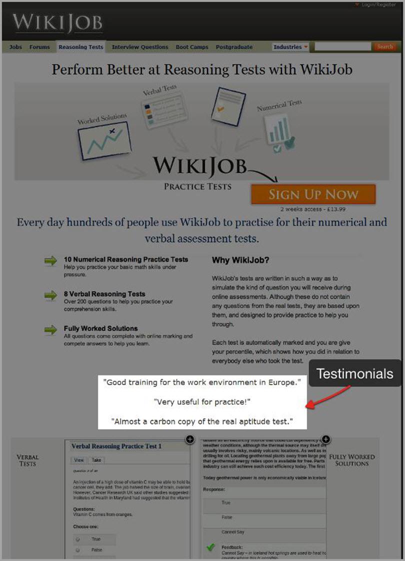 Wiki Job Testimonials for psychological principles