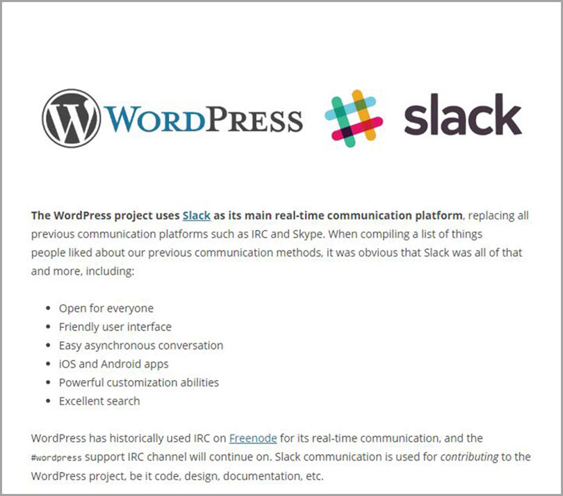 WordPress + Slack for slack communities for bloggers