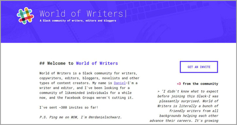 World of Writers for slack communities for bloggers