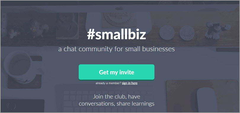 #smallbiz for slack communities for bloggers
