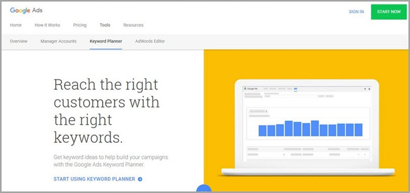 Google Keyword Planner for resources for freelance writers