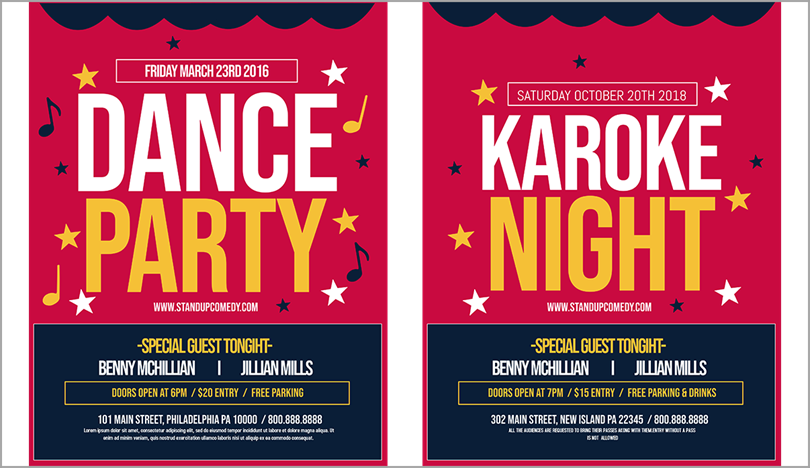 template that was customized for a Karaoke party for marketing graphics