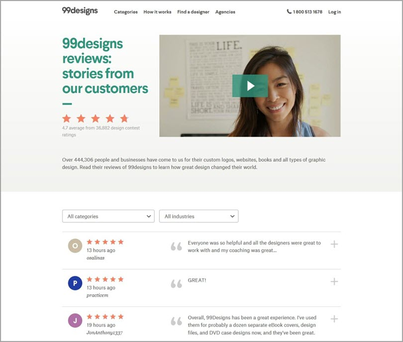 Create a reviews page like 99 designs for customer reviews in your content