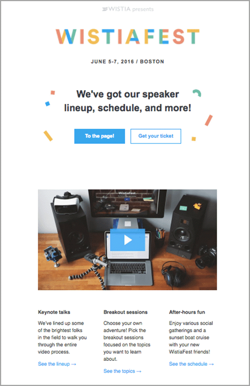 Email Marketing like Wistia for Event Marketing Strategy