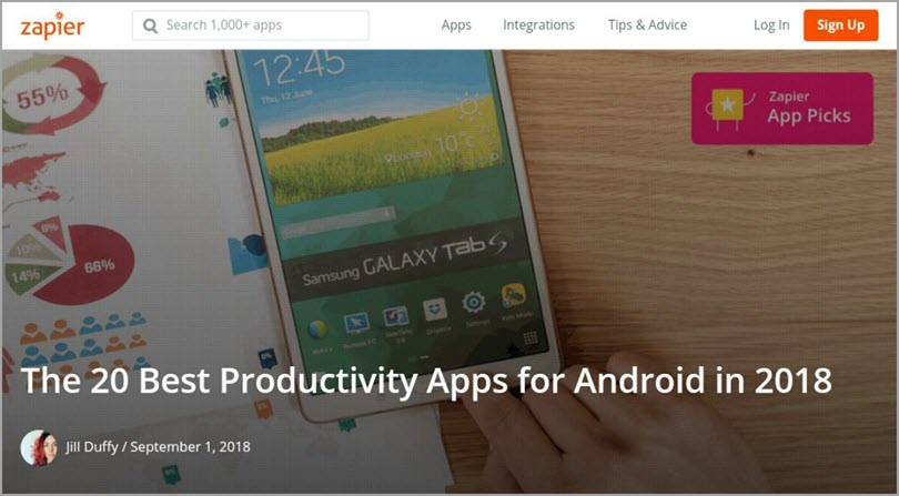 Generate content Ideas Best Productivity apps 2018 for customer reviews in your content