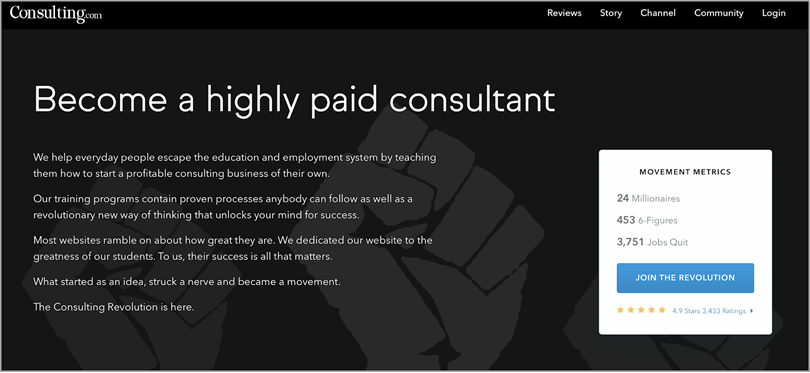 Say Something Impressive like Consulting.com for build trust