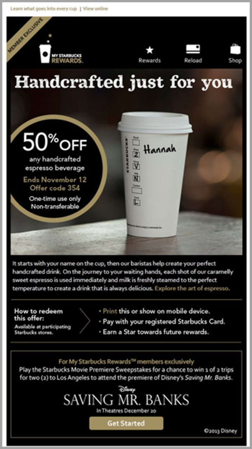 Starbucks Reward for email personalization