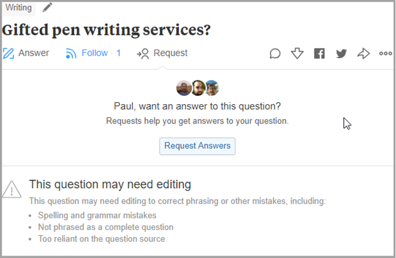 After creating the question, open the question page like gifted pen for quora