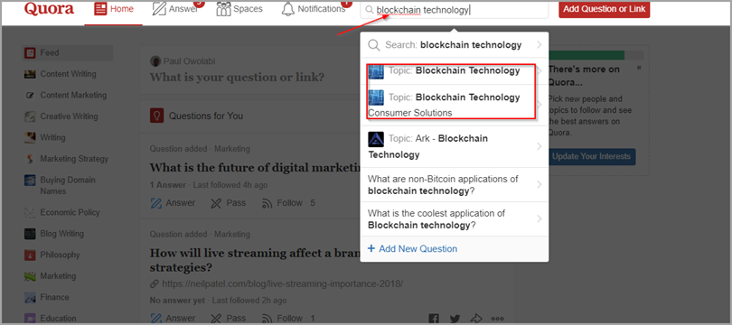 Blockchain Technology for quora
