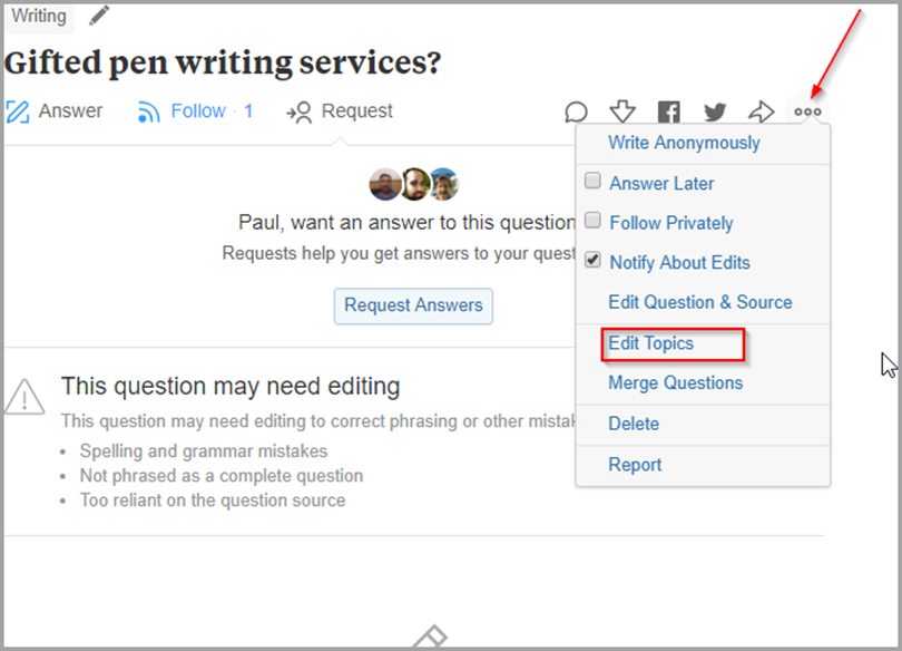 "Click on ""Edit Topics"" for quora"