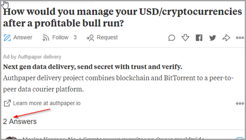 Cryptocurrency for quora