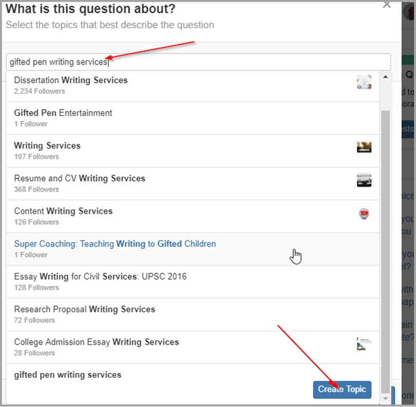 "Type your brand name in the ""Search for a topic"" box and click on ""Create Topic."" for quora"