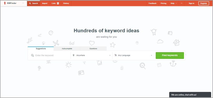 Identify Low Competition Keywords like KWFinder for SEO audit checklist