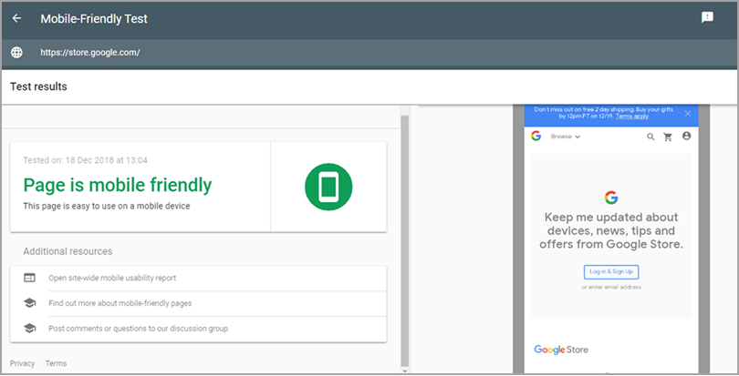 Mobile-Friendly Test tool for SEO audit checklist