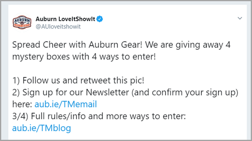 Run contests like Auburn LoveItShowIt for Social Media and Email