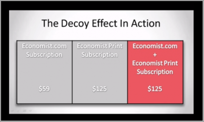 The Decoy Effect for cognitive marketing