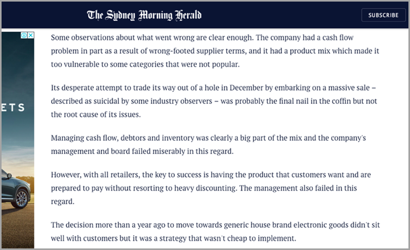 Audit your own business like The Sydney Morning Herald for competitor goes out of business