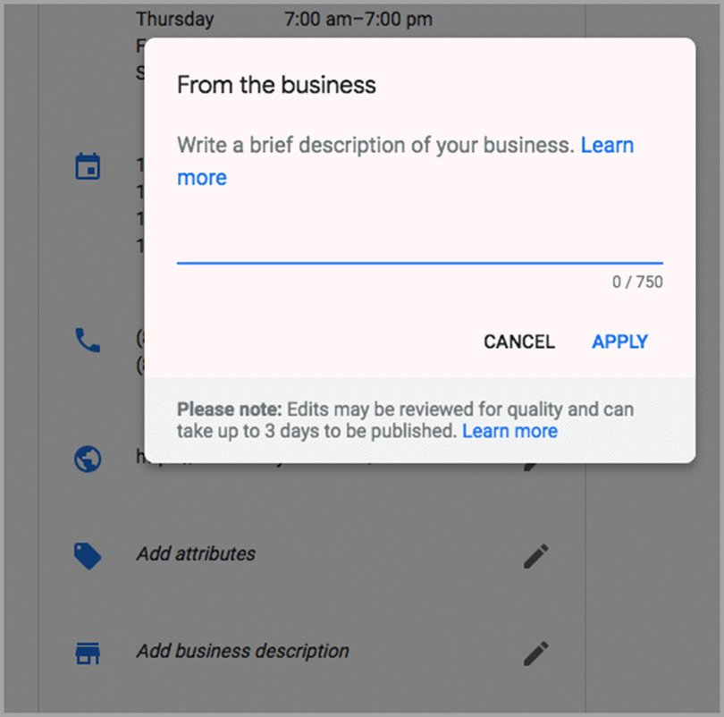 Business Descriptions for Google My Business features