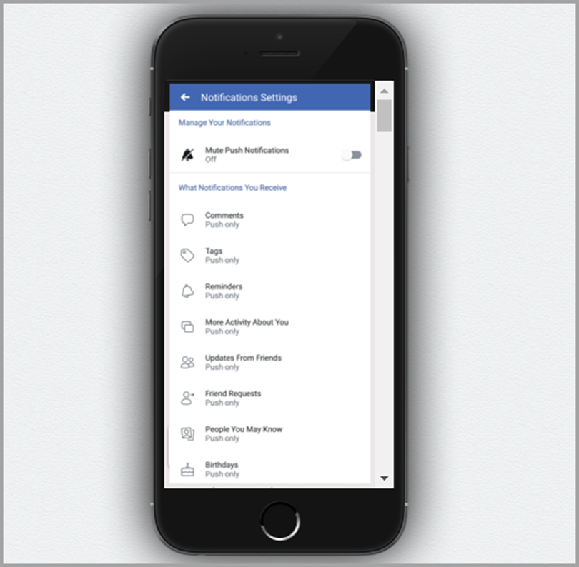 Facebook Notification Settings for push notification marketing